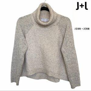 John + Jenn Cowl Neck Long Sleeve Crop Sweater